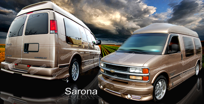 Chevy Van Custom Sarona Body Kit Fenders Roof Trunk Wing Side Skirts Add On Lip Front Rear Bumper Grill on 1997 Dodge Conversion Van Parts