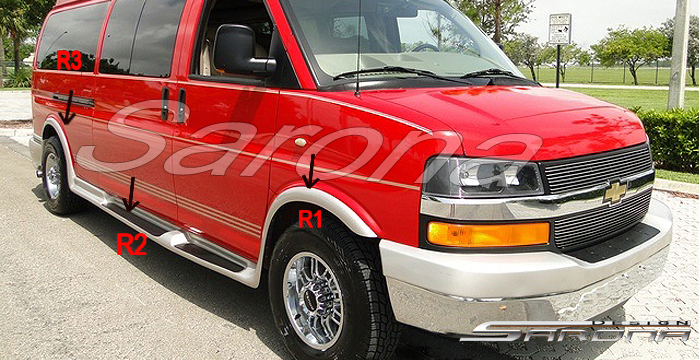 Chevy Gmc Express Savana Side Step Skirt Running Boards Custom New Sarona Body Kits Kit